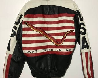 Vintage 100% Genuine Leather Gadsden Flag Dont Tread On Me Jacket S