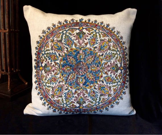 "linen pillow case|traditional block printed mandala design|decorative cushions|home decor| linen pillowcase|pillow cover 16""x16"""