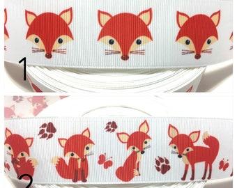Orange Fox Ribbon, Fox Grosgrain Ribbon, Foxes Ribbon,Red fox ribbon, Woodland Ribbon