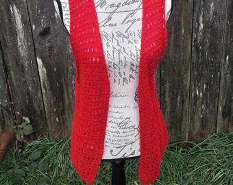 Red knitted hippy vest/crochet vest/vintage vest/hippy vest/70's hippy vest/70's knitted vest/red crochet vest/70's crochet vest