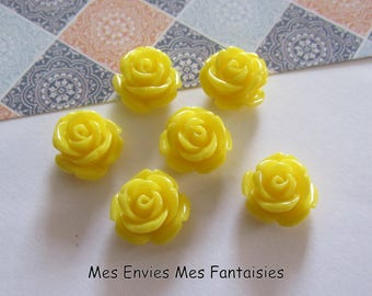 6 cabochons resin flowers 12mm base 8mm approx Mix R24