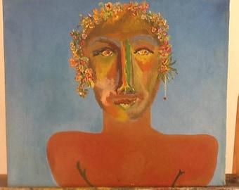 Joven de Cancún,pintura al óleo sobre lienzo de algodón en bastidor