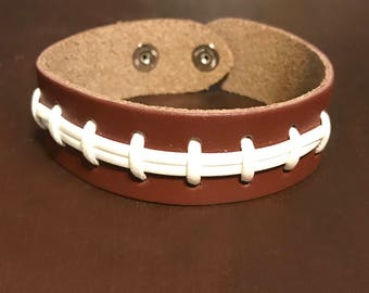Leather Football Bracelet