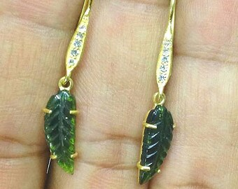 green tourmaline hand carved leaf earrings