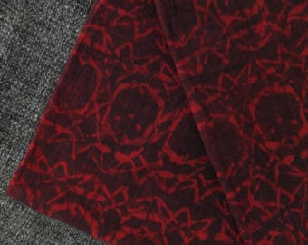 3.5m Hand Block Printed Red/Black Cotton Fabric