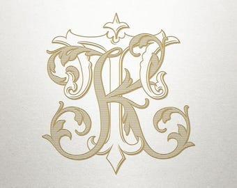 Custom Bridal Monogram - KT TK - Bridal Monogram - Vintage