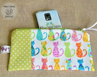Cat pouch, Pencil case, Make up bag, Cat lover gift, Crazy cat lady, Colorful cat phone case, Zipper pouch, Green polka dot pouch