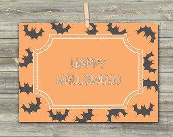 Bat Halloween, DIGITAL CARD, Black Bats Download Card, Happy Halloween, Greeting Card, Printable Card, Halloween Celebration, Bat Print