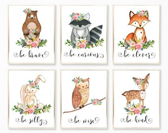 Woodland Print Set, Woodland Animal Prints, Printable Woodland Nursery Decor, Woodland Nursery Art, Be Kind Be Brave, Animal Wall Art