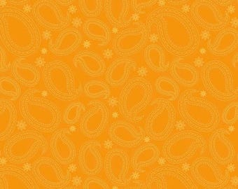 Sale Primavera Paisley in Tangerine Cotton Fabric by Patty Young for Riley Blake