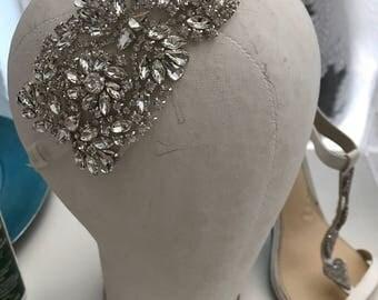 Bridal Rhinestone Headband / Rhinestone Tulle Headband / Rhinestone Headband / Bridal Hair Rhinestone Elastic back