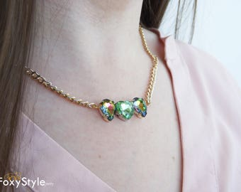 crystal necklace chain necklace boho necklace green necklace crystal point green wedding necklace greenery wedding druzy necklace dainty