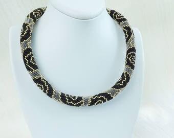 black bead necklace black wedding classic necklace big necklace cord necklace halloween necklace link necklace dark necklace lightweight