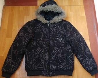 Karl Kani jacket, vintage black suede hip hop parka jacket, 90s hip-hop clothing, 1990s hip hop college jacket, OG gangsta rap size M Medium