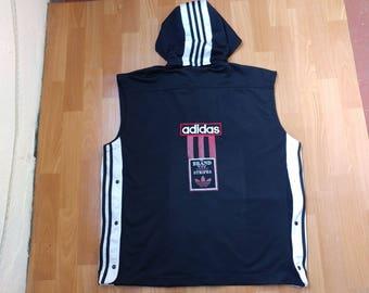 ADIDAS jersey, hoodie vintage t-shirt of 90s hip-hop clothing, 1990s hip hop shirt, OG, gangsta rap, black basketball tank, size L Large D7