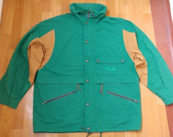 FILA jacket, 1988 Winter Olympics, vintage windbreaker jacket of 90s hip-hop clothing, 1990s hip hop, green, OG, rap, size XL Made in Italy