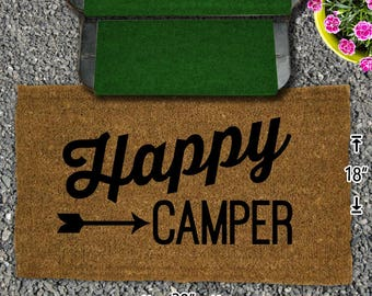 Happy Camper Coir Doormat - 18x30 - Welcome Mat - House Warming - Mud Room - Gift - Custom - Home Decor - Camping - Campsite