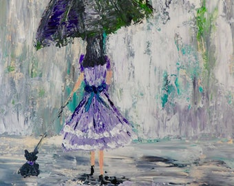 "Umbrella Print, Walking a Dog, Woman in Rain, Walking in Rain, 8""x10"" Print, Gift for Girlfriend, Bedroom Decor, Girl's Room Decor,"