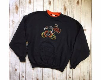 Vintage Halloween Sweatshirt, 90s Halloween Clothing, Adult XXL, Mock Turtle Neck, Vintage Ghost Pumpkin Patch Design, Ugly Sweater Party