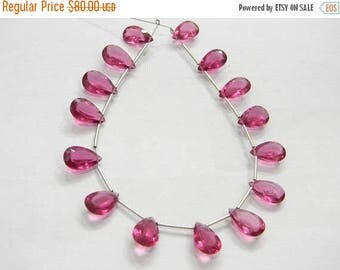 on sale AAA super fine quality pink hydro quartz  faceted pear cut 15 pecs size 7x13-8x14-mm approx
