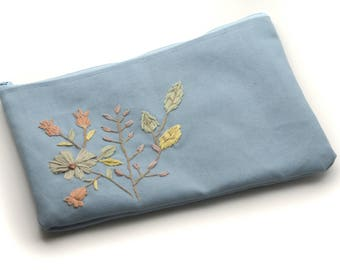 Blu floral hand embroidered zipper pouch