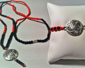 Red and black bracelet and necklace set
