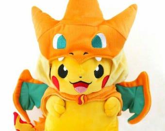 Pikachu Charizard Plushie - Pokemon - Yellow and Orange