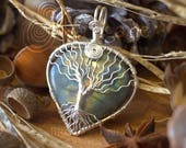 Tree Of Life Yggdrasil Necklace - Forest Broceliande - Labradorite - Wire Wrapping - Copper Wire Wrapping Gemstone