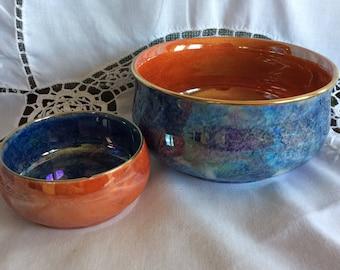 Vintage Grimwades Bizanta Ware Royal Winton luster bowl blue and orange Imperial