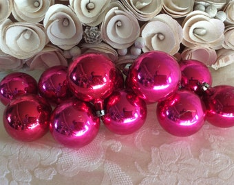 Nice set of 12  glass Christmas tree ornaments dark pink USA made