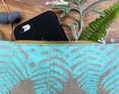 Turquoise Fern Purse - Hand Silkscreen Printed by Ottostop
