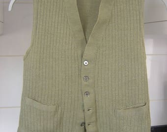 Real Vintage Olive Green Waistcoat..Chunky Style Knit..Cira 1930/40s...great vintage details to the pockets and buttons..size. small..