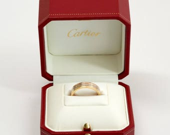 Cartier 18K Tri Color Gold Triple Stack Wedding Band 4.8 mm. w/Box, size 7.5
