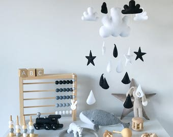 Black and White Stars, Cloud and Raindrops Mobile