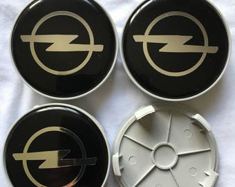 "On Sale now!!! 4 pcs. set. ""Opel"" 68 mm. silver,grey&black wheel center caps, badges ,emblems"