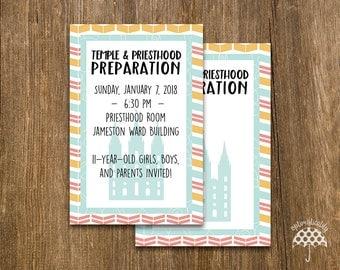 LDS Temple & Priesthood Preparation Invitation -- Colorful Arrows