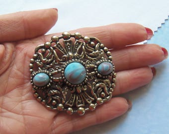 """Vintage, Silver Tone Turquoise Brooch Signed """"Jewelcraft"""" (2959)"""