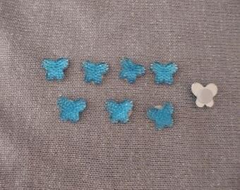 Cabochon 13 mm x 10 mm blue rhinestone Butterfly in acrylic