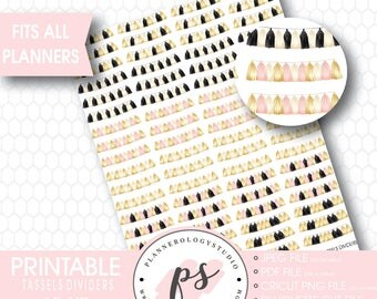 Tassel & Party Garland Dividers Printable Planner Stickers | JPG/PDF/Silhouette Compatible Cut Files