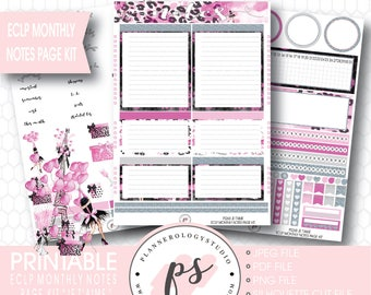 Je T'aime Valentine's Day Theme Monthly Notes Page Kit Printable Planner Stickers (for Erin Condren ECLP) | JPG/PDF/Silhouette Cut File