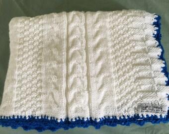 Hand Knit White with Blue Trim Blanket/Stroller blanket/Crib blanket/Christening/Baby Shower Gift