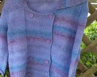 Hand knitted double breasted jacket in random blue yarn Med