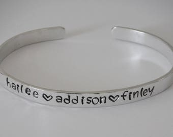 Personalized Sterling Silver Cuff Bracelet with Kid's or Pet's Names