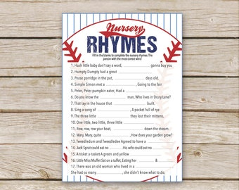 Baseball Baby Shower Nursery Rhyme Quiz - Instant Download - Baseball Shower Game - Nursery Rhymes Game - Lil' Slugger