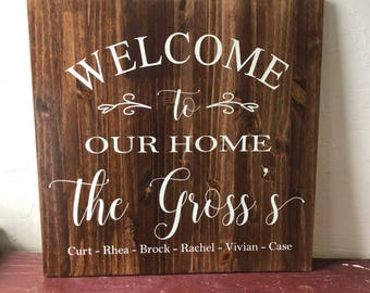 Welcome Personalized Wood Sign - Custom Wood Sign