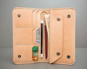 Leather Wallet TRIPHOLDER, Beige Leather Wallet, Handstithed, Handpainted, Handcrafted, Men wallet, Women wallet, Leather Clutch