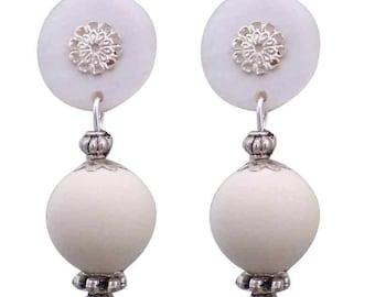 White Cherry clip earring