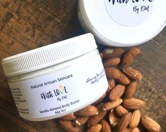 Vanilla Almond Body Butter Organic Body Butter Organic Lotion Body Lotion Body Cream Natural Hand Lotion Vegan Whipped Lotion Vegan Skincare