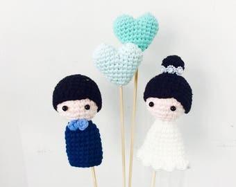 Crochet Wedding Cake Topper, Wedding Cake Topper, Cake Topper, Wedding Decor, wedding gift, Crochet Cake Topper,