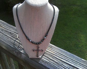 Men Black and Silver Hematite, Magnetic Clasp, Stainless Steel Cross Pendant Necklace